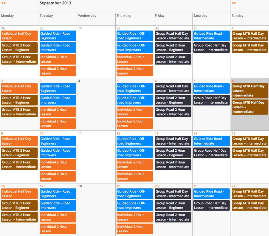 View the Velotutor booking calendar